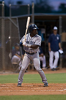 AZL Padres 1 second baseman Lee Solomon (28) at bat during an Arizona League game against the AZL Padres 2 at Peoria Sports Complex on July 14, 2018 in Peoria, Arizona. The AZL Padres 1 defeated the AZL Padres 2 4-0. (Zachary Lucy/Four Seam Images)