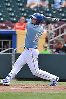Omaha Storm Chasers first baseman Ryan O'Hearn (24) swings at a pitch against the Oklahoma City Dodgers at Werner Park on June 24, 2018 in Omaha, Nebraska. Omaha won 8-0.  (Dennis Hubbard/Four Seam Images)