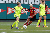 Rochester, NY - Saturday July 09, 2016: Kim Little, Lianne Sanderson during a regular season National Women's Soccer League (NWSL) match between the Western New York Flash and the Seattle Reign FC at Frontier Field.