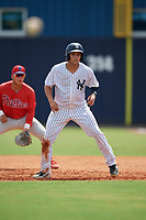GCL Yankees East Raymundo Moreno (5) leads off during a Gulf Coast League game against the GCL Phillies East on July 31, 2019 at Yankees Minor League Complex in Tampa, Florida.  GCL Yankees East defeated the GCL Phillies East 11-0 in the first game of a doubleheader.  (Mike Janes/Four Seam Images)
