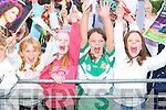 Aisling O'Mahony, Laura Corlett, Ciara Carroll and Niamh Randles Killarney give Jessie a huge cheer at the Jessie Buckley homecoming in St Mary's Cathedral field Killarney on Friday    Copyright Kerry's Eye 2008