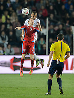 PRAGUE, Czech Republic - September 3, 2014: USA's John Brooks and Ladislav Krejci of the Czech Republic during the international friendly match between the Czech Republic and the USA at Generali Arena.