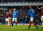 01.12.2019 Rangers v Hearts: Ryan Kent celebrates his goal for Rangers after Joe Aribo's assist