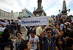 Thousands of students stage a protest against the majority of the media at the bicentennial monument Stele of Light, May 23, 2012. The students claim for  an equitative information on the electoral campaigns news, instead of supporting to one of the candidates as they do for now. Photo by Heriberto Rodriguez