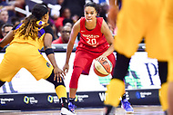 Washington, DC - August 17, 2018: Washington Mystics guard Kristi Toliver (20) handles the ball during game between the Washington Mystics and Los Angeles Sparks at the Capital One Arena in Washington, DC. (Photo by Phil Peters/Media Images International)