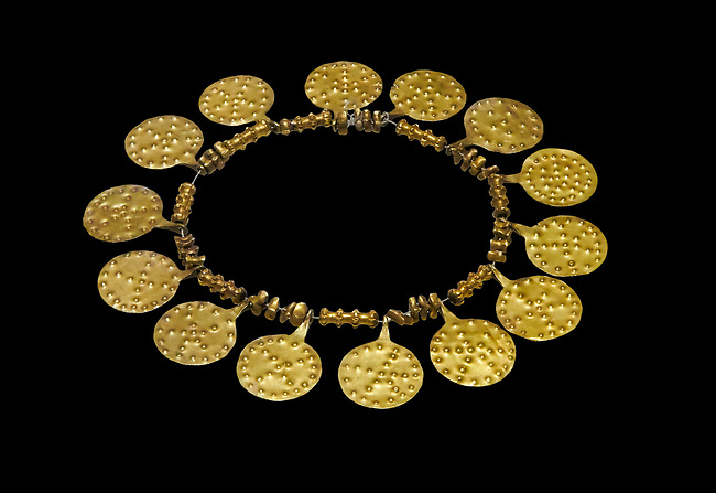 Bronze Age Hattian gold necklace from Grave E,  possibly a Bronze Age Royal grave (2500 BC to 2250 BC) - Alacahoyuk - Museum of Anatolian Civilisations, Ankara, Turkey. Against a black background