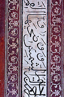 Agra, India.  Taj Mahal Mosque.  Calligraphy and Floral Decoration.