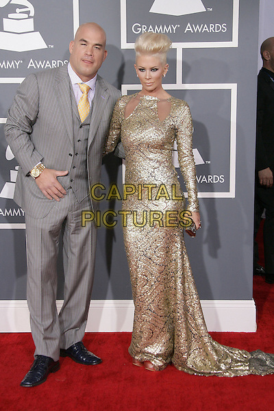 Tito Ortiz, Jenna Jameson.The 55th Annual GRAMMY Awards held at STAPLES Center, Los Angeles, California, USA..February 10th, 2013.grammys full length grey gay suit gold dress couple sequins sequined .CAP/ADM.©AdMedia/Capital Pictures.