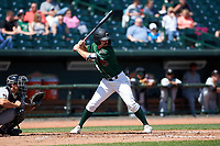 Great Lakes Loons Luke Heyer (16) at bat during a Midwest League game against the Wisconsin Timber Rattlers at Dow Diamond on May 4, 2019 in Midland, Michigan. Great Lakes defeated Wisconsin 5-1. (Zachary Lucy/Four Seam Images)