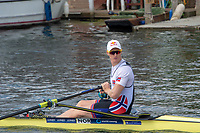 """Henley on Thames, United Kingdom, 3rd July 2018, Wednesday,  """"Henley Royal Regatta"""", Diamond Challenge Sculls, Finalist, Kjetil BORCH, NOR M1X, paddles down the course on way to the Start , Henley Reach, River Thames, Thames Valley, England, UK."""