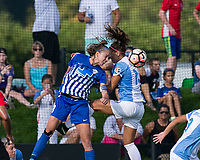 Allston, MA - Saturday August 19, 2017: Julie King, Alex Morgan during a regular season National Women's Soccer League (NWSL) match between the Boston Breakers (blue) and the Orlando Pride (white/light blue) at Jordan Field.