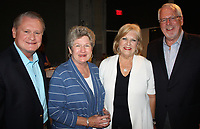 NWA Democrat-Gazette/CARIN SCHOPPMEYER Dave and Jane Gearhart (from left) and Terrye and Patric Brosh visit at the TheatreSquared season kickoff Aug. 10 in Bentonville.