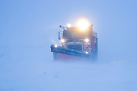 Snow plow clears snow from the James Dalton Highway (Haul Road), that connects Fairbanks with the Prudhoe Bay Oil fields.