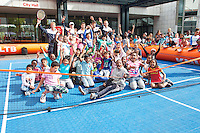 September 11, 2014, Netherlands, Amsterdam, Ziggo Dome, Davis Cup Netherlands-Croatia, Draw, Dutch team posing with street tennis kids<br /> Photo: Tennisimages/Henk Koster