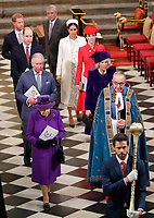 11 March 2019 - London, England - Queen Elizabeth II, Prince Charles Prince of Wales, Camilla Duchess of Cornwall, Kate Duchess of Cambridge Catherine Katherine Middleton, Prince William Duke of Cambridge, Prince Harry Duke of Sussex, Meghan Markle Duchess of Sussex, Prince Andrew Duke of York with The Dean of Westminster Abbey, The Very Reverend Dr John Hall during a Commonwealth Day Service held at Westminster Abbey. Photo Credit: ALPR/AdMedia