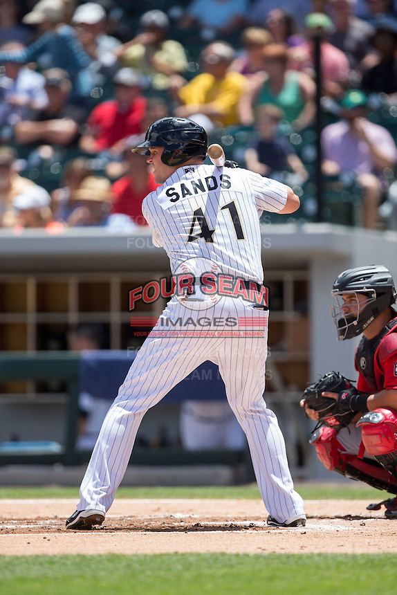 Jerry Sands (41) of the Charlotte Knights at bat against the Indianapolis Indians at BB&T BallPark on June 19, 2016 in Charlotte, North Carolina.  The Indians defeated the Knights 6-3.  (Brian Westerholt/Four Seam Images)