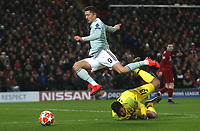Bayern Munich's Robert Lewandowski is caught off-side  as he is tackled by Liverpool's Alisson Becker <br /> <br /> Photographer Rich Linley/CameraSport<br /> <br /> UEFA Champions League Round of 16 First Leg - Liverpool and Bayern Munich - Tuesday 19th February 2019 - Anfield - Liverpool<br />  <br /> World Copyright © 2018 CameraSport. All rights reserved. 43 Linden Ave. Countesthorpe. Leicester. England. LE8 5PG - Tel: +44 (0) 116 277 4147 - admin@camerasport.com - www.camerasport.com