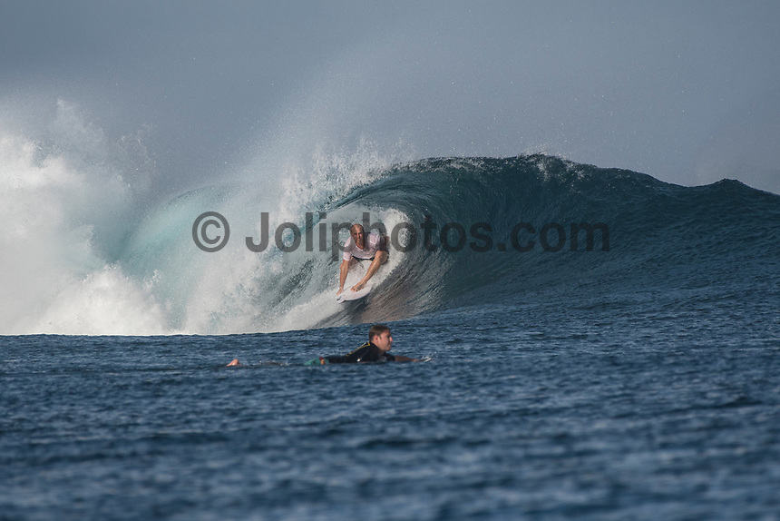 Namotu Island Resort, Nadi, Fiji (Sunday, May 7 2017): The wind was moderate  this morning,  coming out of the of the East. Two boats hit Cloudbreak early as the tide dropped to a 10am low. It was very crowded and the swell in the 3' plus range, despite being groomed by the offshore wind, was broken up and shifting around.  Other guests surfed Namotu Lefts until the tide got too low.    Photo: joliphotos.com