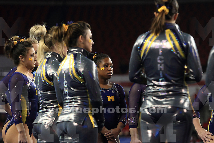 The University of Michigan women's gymnastics team wins the regional 2014 NCAA Women's Gymnastics Championships hosted at Stegeman Coliseum on the University of Georgia campus in Athens, Ga., on April 5, 2014.