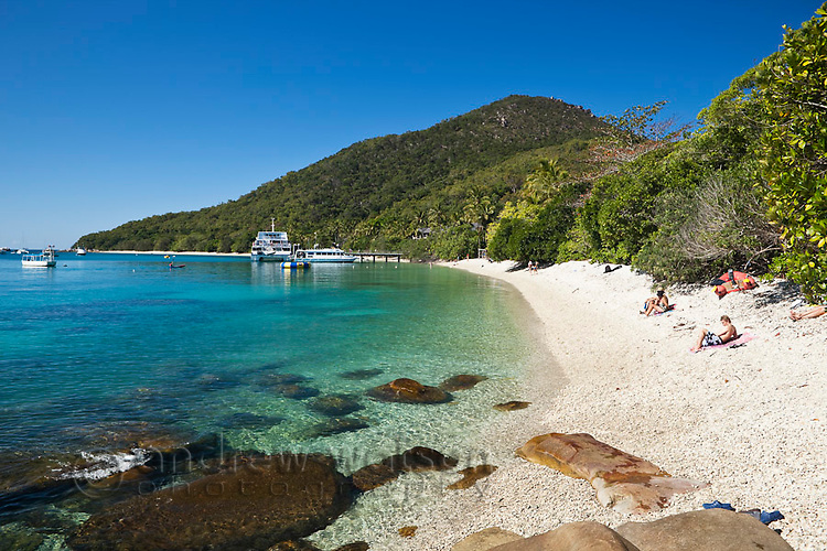View along beach at Welcome Bay.  Fitzroy Island National Park, Cairns, Queensland, Austtralia