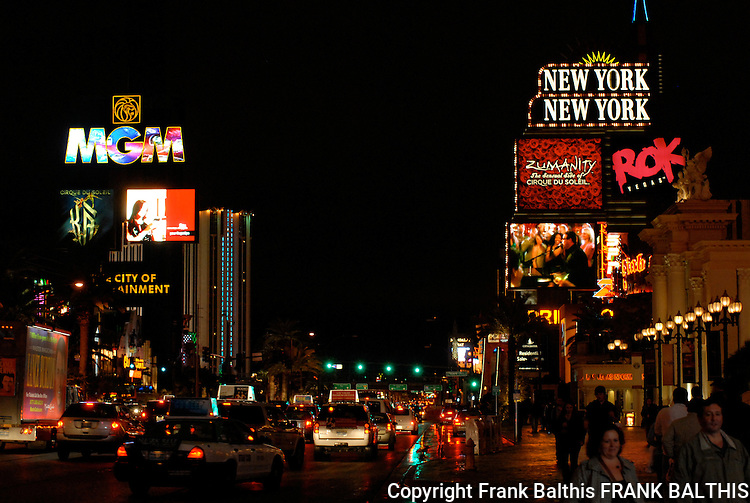Las Vegas strip in evening in Feb. 2009