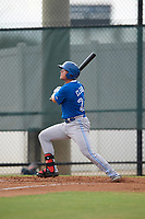 Toronto Blue Jays first baseman Kacy Clemens (23) hits a double off the fence during an Instructional League game against the Philadelphia Phillies on September 30, 2017 at the Carpenter Complex in Clearwater, Florida.  (Mike Janes/Four Seam Images)