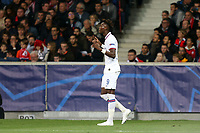 Tammy Abraham of Chelsea celebrates scoring the first goal during Lille OSC vs Chelsea, UEFA Champions League Football at Stade Pierre-Mauroy on 2nd October 2019