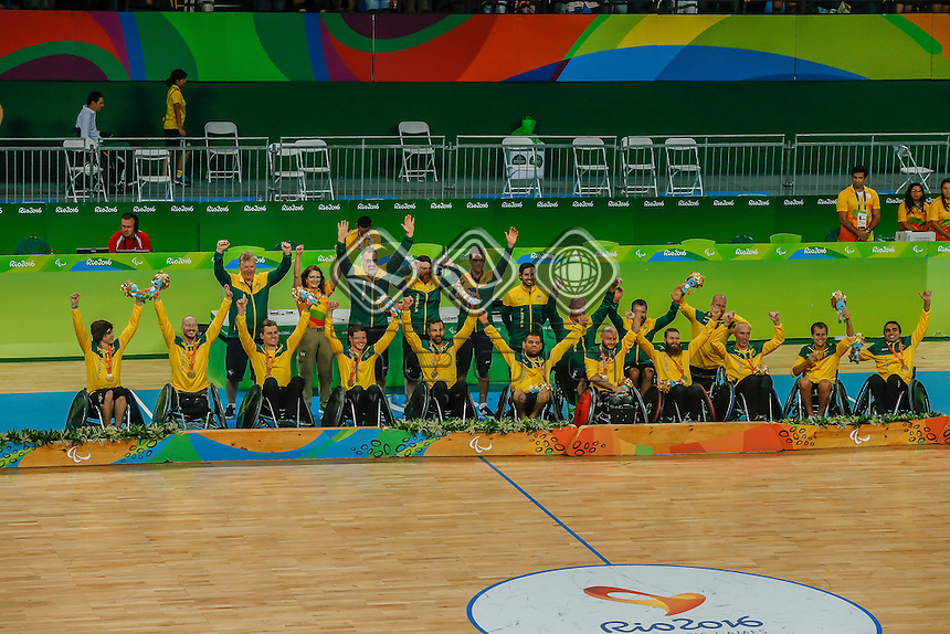 Australia vs USA in the Men's Wheelchair Basketball Finals. <br /> Rio Olympic Arena<br /> 2016 Paralympic Games - RIO Brazil<br /> Australian Paralympic Committee<br /> Wednesday 14 September 2016<br /> &copy; Sport the library / Greg Smith