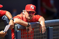 Palm Beach Cardinals pitching coach Randy Niemann (40) during a game against the Charlotte Stone Crabs on April 10, 2016 at Charlotte Sports Park in Port Charlotte, Florida.  Palm Beach defeated Charlotte 4-1.  (Mike Janes/Four Seam Images)