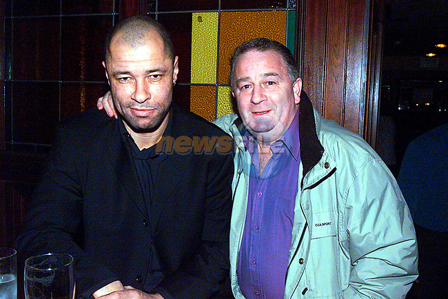 Ireland's Football Legerd Paul McGrath, with Lucke Gibney at the opening night of Mother Hughes. ..Pic Tony Campbell/Newsfile