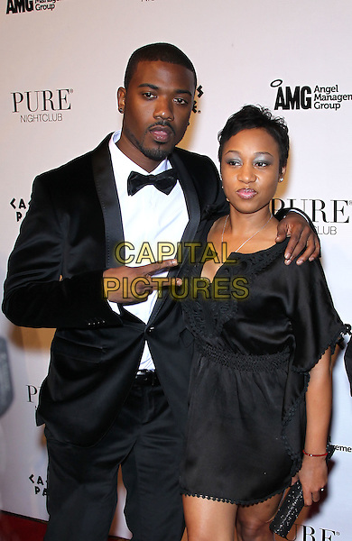 RAY J (William Raymond Norwood Jr.) & TASHA SCOTT .Ray J celebrates his 30th birthday at Pure Nightclub inside Caesar's Palace Resort Hotel and Casino, Las Vegas, Nevada, USA, 15th January 2011..half length black bow tie tux tuxedo  dress arm around hand v peace sign gesture .CAP/ADM/MJT.© MJT/AdMedia/Capital Pictures.