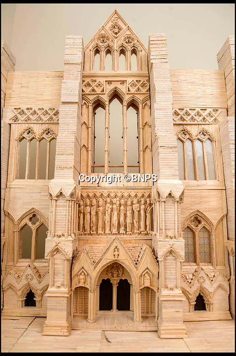 BNPS.co.uk (01202 558833)<br /> Pic: TomWren/BNPS<br /> <br /> The West front of the cathedral under construction - pictured in 2016.<br /> <br /> Single-again Barry King has completed his stunning matchstick model of the front of Salisbury Cathedral - thanks to an old flame.<br /> <br /> Barry began the painstaking project in 2012 but downed tools when he become distracted by a long-term relationship.<br /> <br /> But after the couple split up last year, Barry resumed his hobby and completed the replica of the West Front of the Wiltshire cathedral using 730,000 matches.<br /> <br /> The stunning model will go on public display in Salisbury from August 19.