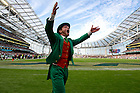 Sept. 1, 2012; The leprechaun leads students and Notre Dame fans in cheering during first quarter against Navy of the 2012 Emerald Isle Classic at Aviva Stadium in Dublin, Ireland. Photo by Barbara Johnston/University of Notre Dame