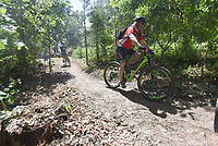 NWA Democrat-Gazette/FLIP PUTTHOFF <br /> NEW TRAIL TO HIKE, BIKE<br /> Mountain bikers hit the trail Friday June 7 2019 after the dedication of a new 17.36-mile trail for hiking and mountain biking at Hobbs State Park-Conservation Area east of Rogers. The trail is now open and starts at the visitor center. It is the first of several Monument Trails planned for select Arkansas State Parks, including Devil's Den, Mount Nebo and Pinnacle Mountain state parks. Dedication festivities continue today at 9 a.m. with a ceremonial log cutting in lieu of a ribbon cutting. Guided rides on the new trail start at 10 a.m. Mountain bikes will be available for use at no charge. Monument Trails are at least 10 miles long and have architectural features such as campsites for backpacking and bikepacking. Rogue Trails built the Monument Trail at Hobbs.