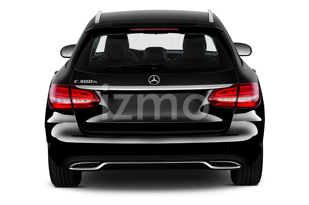 Straight rear view of a 2018 Mercedes Benz C Class Base 5 Door Wagon stock images