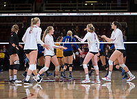 STANFORD, CA - December 1, 2017: Morgan Hentz, Kathryn Plummer, Jenna Gray, Kate Formico, Audriana Fitzmorris at Maples Pavilion. The Stanford Cardinal defeated the CSU Bakersfield Roadrunners 3-0 in the first round of the NCAA tournament.