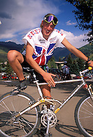 Steve Peat in British Team kit with Kona DH bike.World Championships 1994 , Vail Colorado , USA.pic copyright Steve Behr / Stockfile