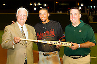 "Billy Hamilton (center) of the Bakersfield Blaze accepts his ""Top Star Award"" from California League president Charlie Blaney (left) and Nathan Blackmon from MiLB.com at BB&T Ballpark on June 19, 2012 in Winston-Salem, North Carolina.  The Carolina League defeated the California League 9-1.  (Brian Westerholt/Four Seam Images)"