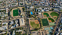 Aerial view of the fields and sports fields and gimmacio of the University of Sonora. The Unison mile. Hermosillo, Sonora. Baseball fields, synthetic grass, soccer fields. Castro Servin stadium. estadio Castro Servin.<br /> (Photo: Luis Gutierrez / NortePhoto.com)<br /> <br /> Vista aerea las canchas y campos deportivos y gimmacio de la Universidad de Sonora. La milla de la Unison. Hermosillo, Sonora. Campos de beisbol, pasto sintetico, canchas de futbol. <br /> (Photo: Luis Gutierrez/NortePhoto.com)