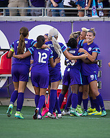 Orlando, Florida - Sunday, May 8, 2016: Orlando Pride midfielder Lianne Sanderson (10) celebrates her goal with her teammates during a National Women's Soccer League match between Orlando Pride and Seattle Reign FC at Camping World Stadium.