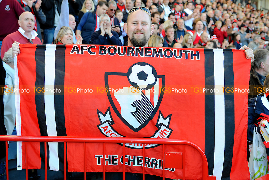 a AFC Bournemouth supporter flies the flag - AFC Bournemouth vs Carlisle United - NPower League One Football at the Goldsands Stadium, Dean Court - 20/04/13 - MANDATORY CREDIT: Denis Murphy/TGSPHOTO - Self billing applies where appropriate - 0845 094 6026 - contact@tgsphoto.co.uk - NO UNPAID USE.
