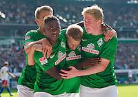 FUSSBALL   1. BUNDESLIGA   SAISON 2012/2013   2. Spieltag SV Werder Bremen - Hamburger SV       01.09.2012             Jubel Werder nach dem Tor zum 1:0; Nils PETERSEN, Eljero ELIA, Aaron HUNT und Kevin DE BRUYNE (vlnr alle Bremen)