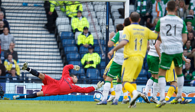 Cammy Bell gets down to save from an Anthony Stokes header