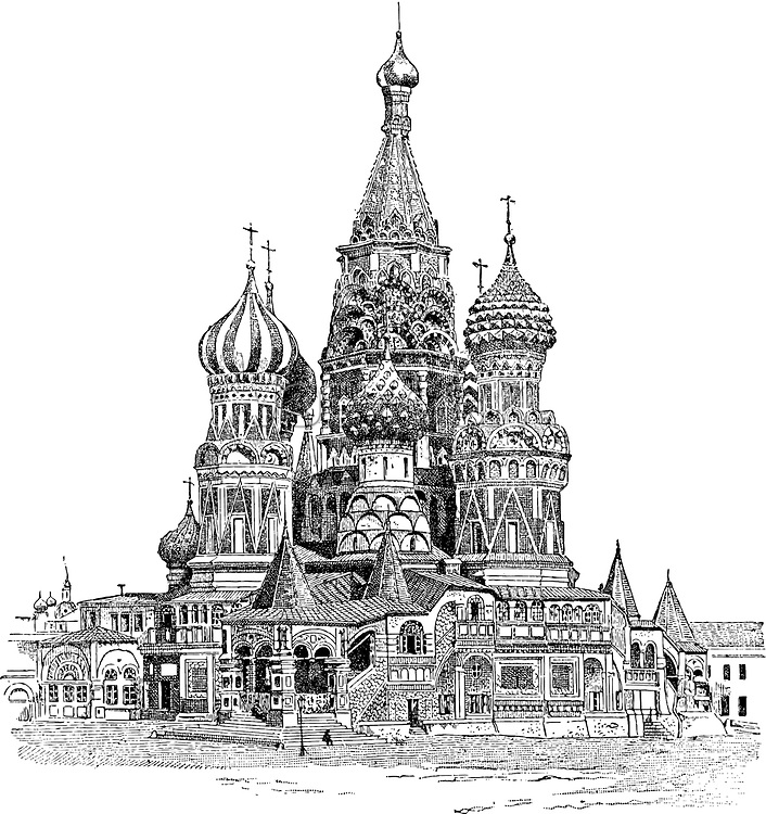 Saint Basil's Cathedral, in Moscow, Russia, vintage engraved illustration. Dictionary of Words and Things - Larive and Fleury - 1895