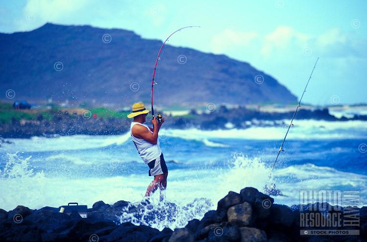 Fishing off the eastern coastline of Oahu