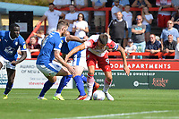 Alex Revell of Stevenage with `Ritchie Sutton of Tranmere Rovers during Stevenage vs Tranmere Rovers, Sky Bet EFL League 2 Football at the Lamex Stadium on 4th August 2018