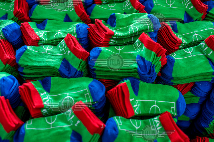 Finished socks at the Mustang Socks Factory.