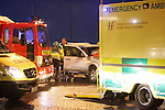 A two Vehicle RTA on the Approach round about at the Gormanstown M1 interchange. One car drove into the back of a Silver 4x4. All the occupants  of the 4x4 were removed to our lady of lourdes hospital in Drogheda and the front seat passanger in the car was removed to hospital. Four ambulances from the North east region as Well as two Appliances from Drogheda Fire and Rescue backed up by Balbriggan Fire Service attended the Scene...Photo: Newsfile/Fran Caffrey.