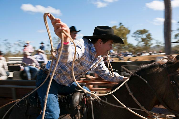 Cowboy on horseback with lasso in hand during breakaway roping competition.  Mt Garnet Rodeo, Mt Garnet, Queensland, Australia