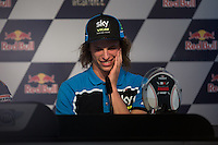 Nicolo Bulega during qualifying press conference in Motorcycle Championship GP, in Jerez, Spain. April 23, 2016